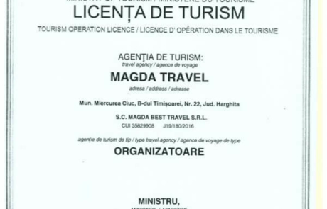Licenta Turism Magda Travel 2019